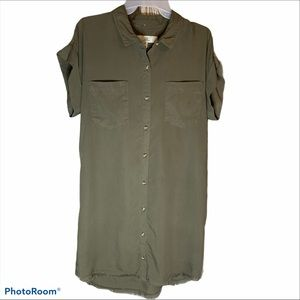 Thread & Supply M button front lyocell olive dress